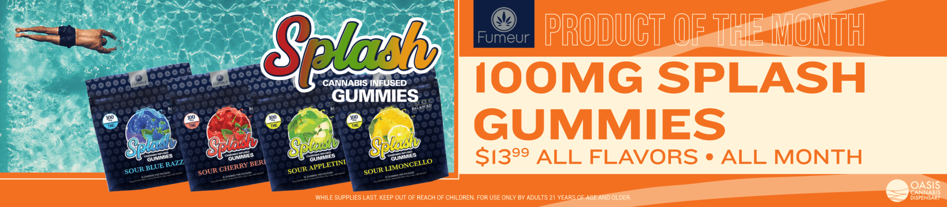 PRODUCT OF THE MONTH 100MG Splash Gummies by Fumeur